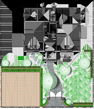 エクステリアのお見積もり例・平面図2|千葉