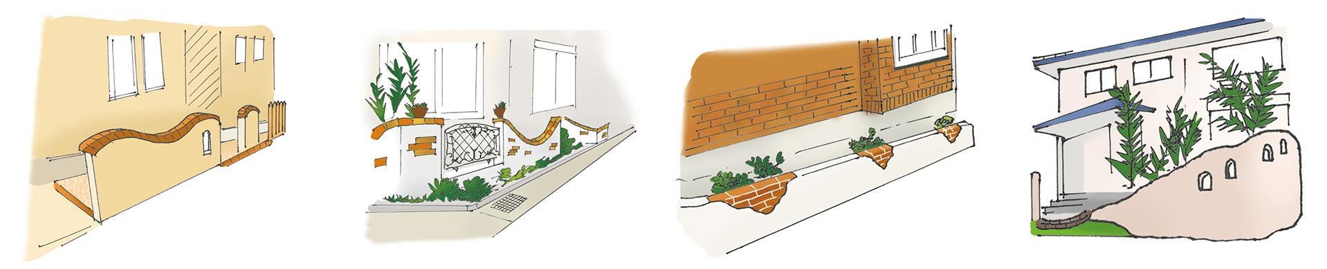 デザイン性の高い塀|千葉 外構・エクステリア