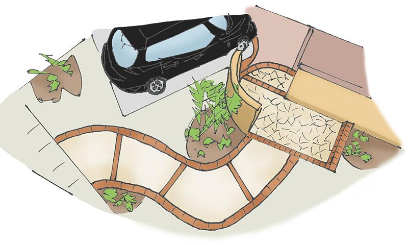 曲線|玄関アプローチ|千葉 外構・エクステリア